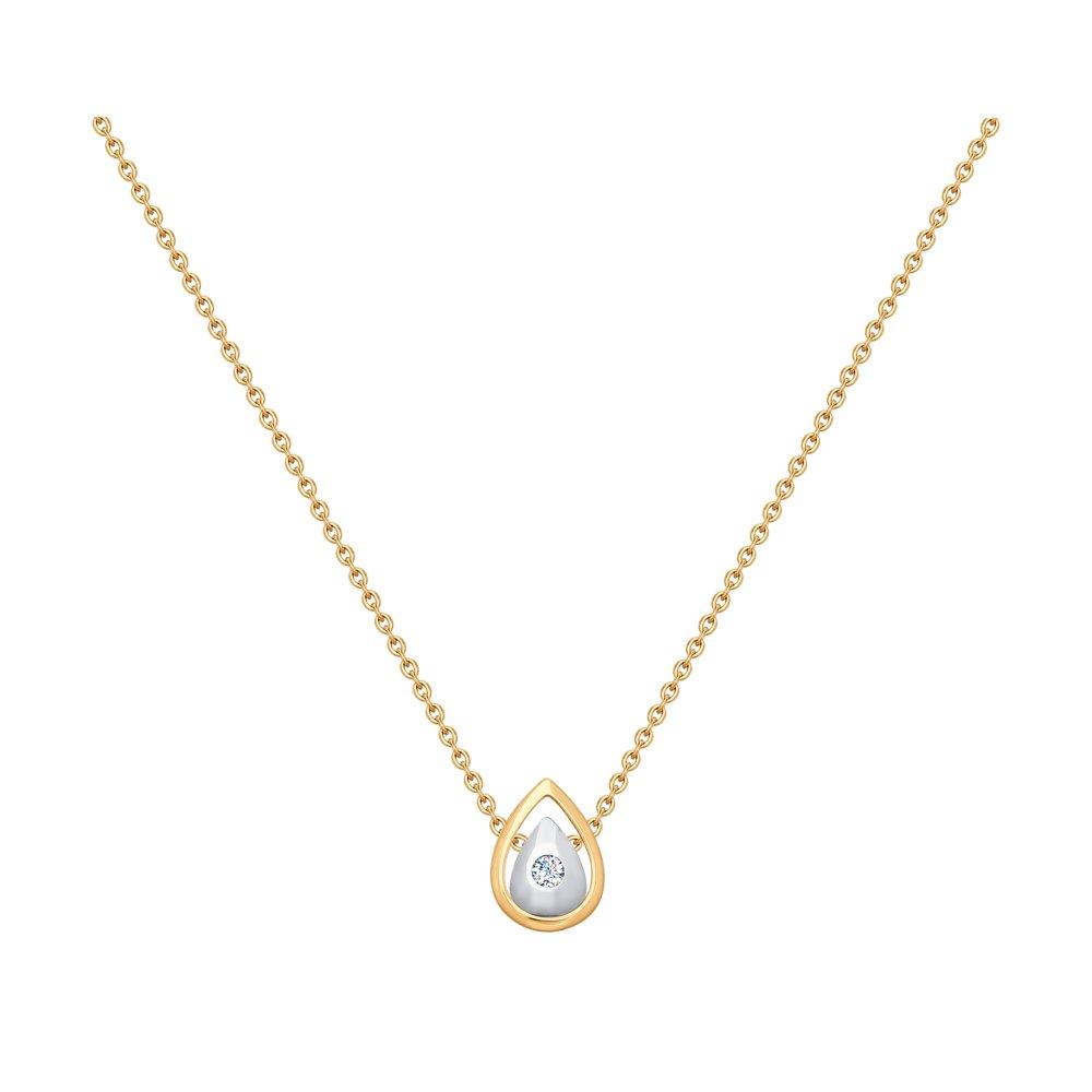 Колье SOKOLOV из комбинированного золота с фианитом колье love с ювелирным стеклом рубинами и фианитом из комбинированного золота