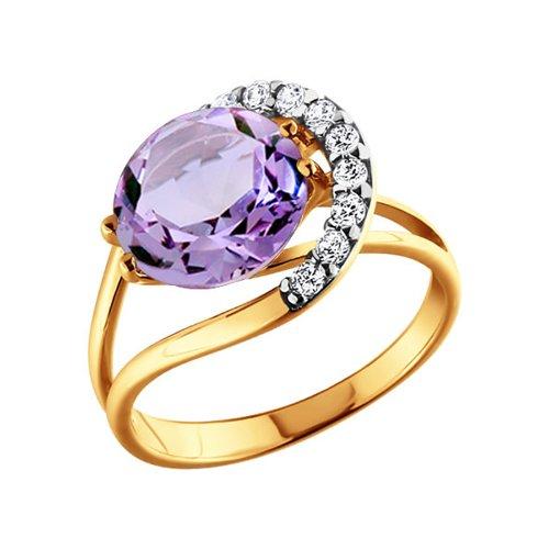 Кольцо SOKOLOV из золота c крупным круглым аметистом и окружении из фианитов кольцо с крупным аметистом