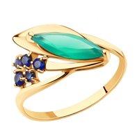Кольцо из золота с агатом и корундами