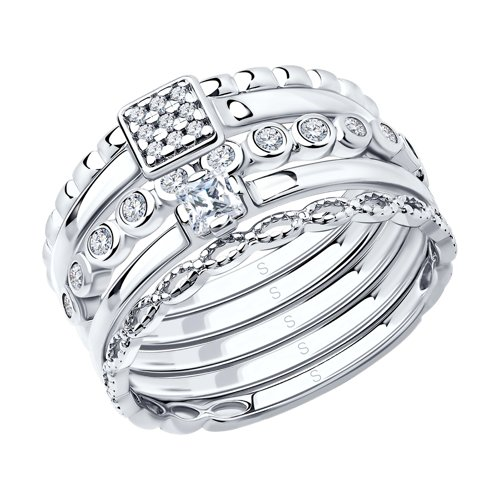 Наборное кольцо SOKOLOV из серебра фото