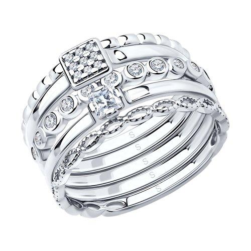 Наборное кольцо из серебра (94011707) - фото
