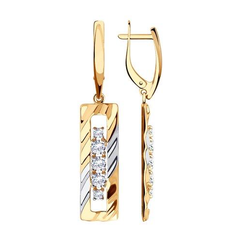 Серьги из золота с фианитами (028599) - фото