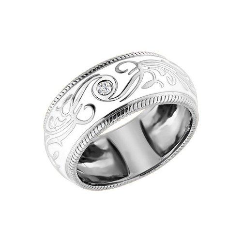 Кольцо с белой эмалью и бриллиантом выполненное SOKOLOV из белого золота позолоченное кольцо с белой эмалью sokolov