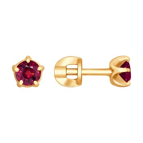 Серьги из золота с рубинами