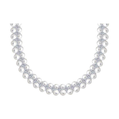 Колье из серебра с жемчугом и фианитами (94070373) - фото
