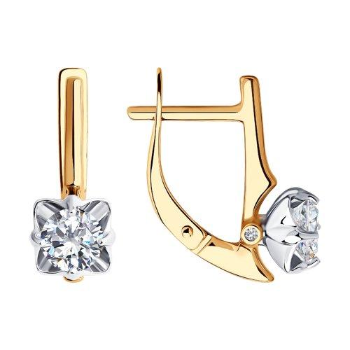 Серьги из комбинированного золота с фианитами Сваровски и фианитами 81020514 SOKOLOV фото