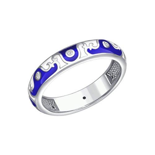 Серебряное кольцо с узором и фианитами SOKOLOV