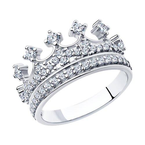 Кольцо-корона с фианитами (94011218) - фото