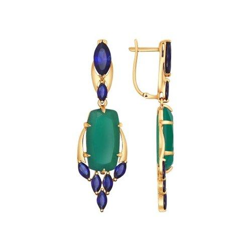 Серьги длинные из золота с зелёными агатами и корундами сапфировыми (синт.)