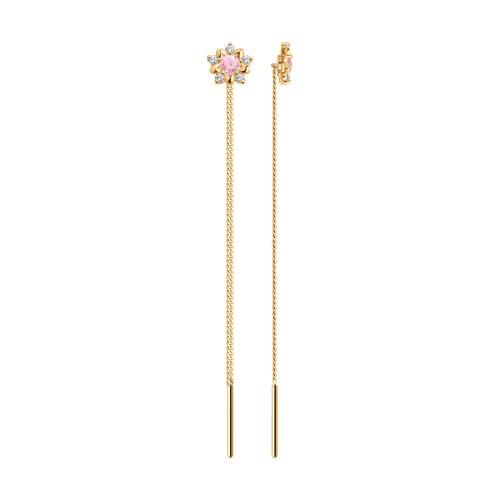Серьги-цепочки с розовым фианитом