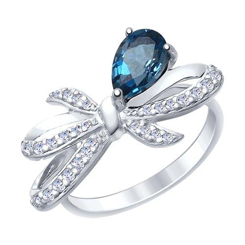 Кольцо из серебра с синим топазом и фианитами (92011417) - фото