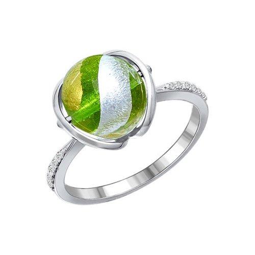 Серебряное кольцо с муранским стеклом и фианитами SOKOLOV