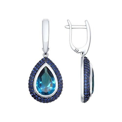 Серьги из серебра с синими ситаллами и синими фианитами