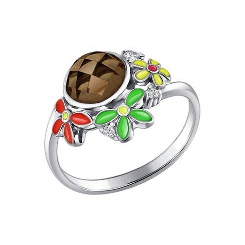 Кольцо из серебра с эмалью с раухтопазом и фианитами
