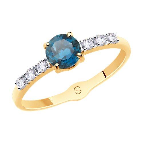 Кольцо из золота с синим топазом и фианитами (715547) - фото