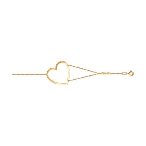 Браслет в форме сердца из золота (050944) - фото