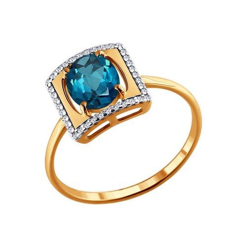 Золотое кольцо с топазом london blue в квадратной окантовке SOKOLOV из фианитов золотое кольцо ювелирное изделие k 11013