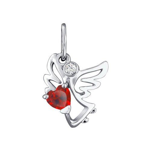 Подвеска ангел SOKOLOV из серебра с красным фианитом подвеска на цепочке с открыткой ангел