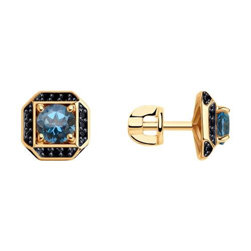 Серьги из золота с синими топазами и чёрными фианитами (725214) - фото