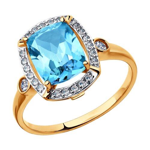 Кольцо из золота с топазом и фианитами (714983) - фото