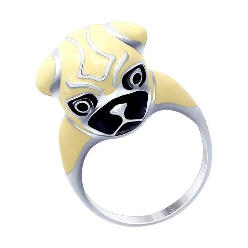 Серебряное кольцо с эмалью «Мопс»