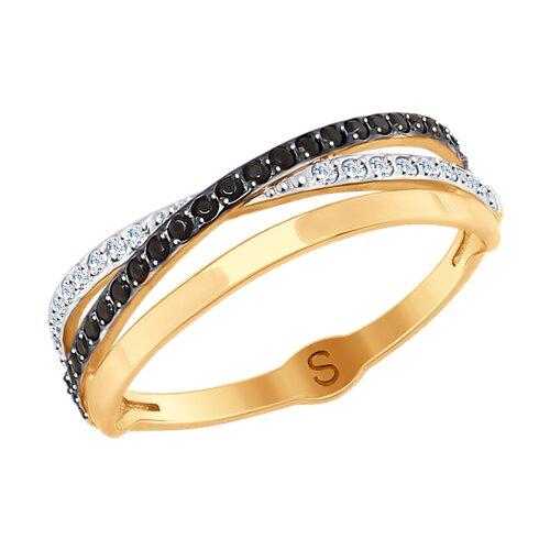 Кольцо из золота с фианитами (017883) - фото
