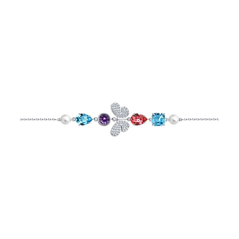 Браслет SOKOLOV из серебра с жемчугом Swarovski, кристаллами Swarovski и фианитами