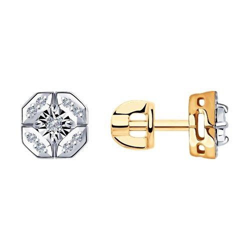 Серьги из комбинированного золота с бриллиантами 1021480 SOKOLOV фото