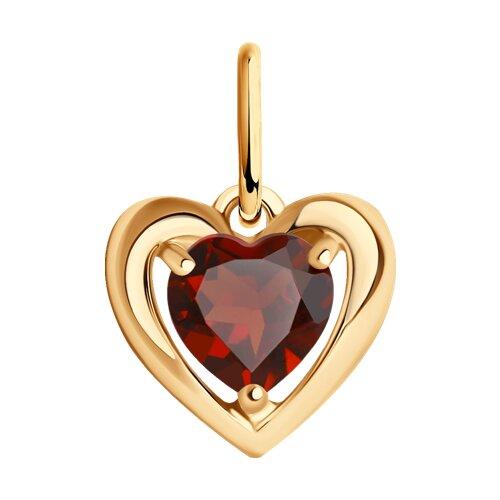 Подвеска в форме сердца из золота с гранатом