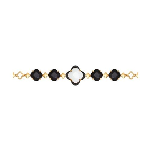Браслет из золота с чёрными бриллиантами и керамическими вставками