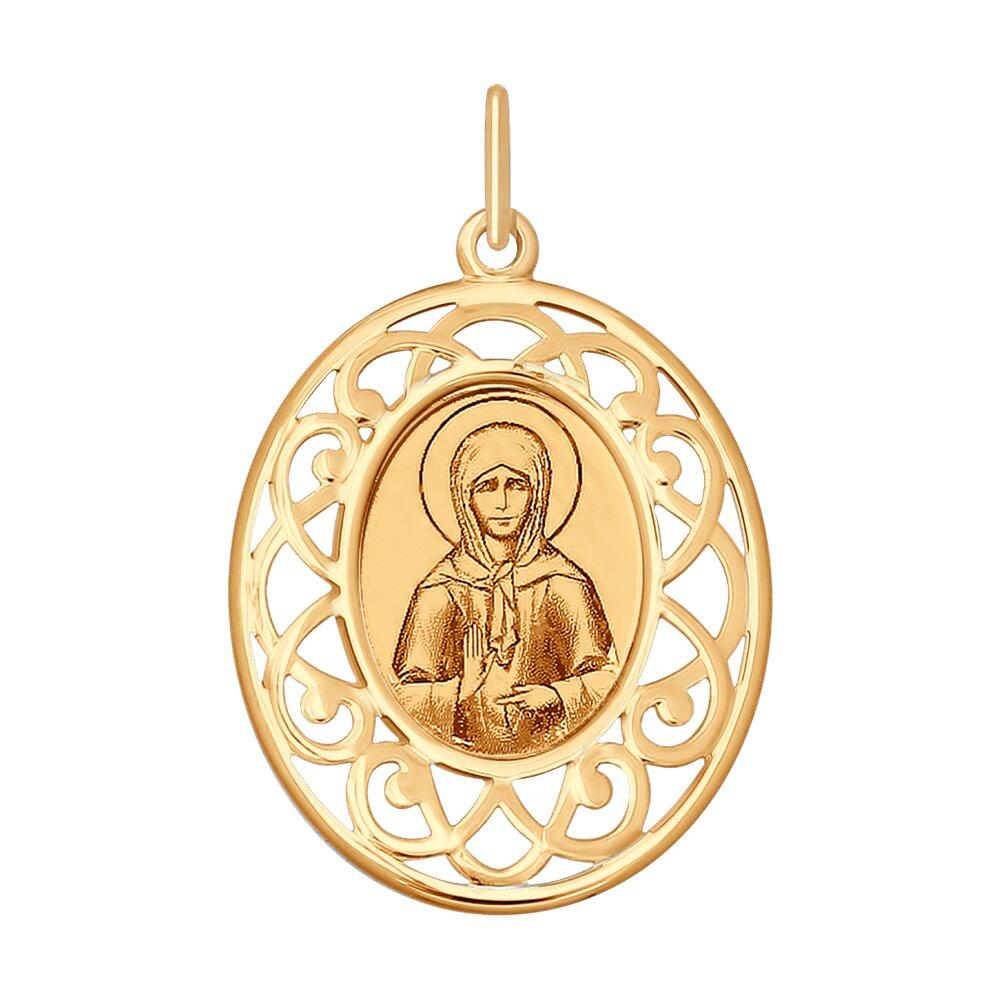 Золотая иконка с ликом Святой блаженной Матроны Московской SOKOLOV фото