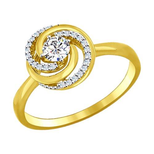 Кольцо из желтого золота с фианитами (017093-2) - фото