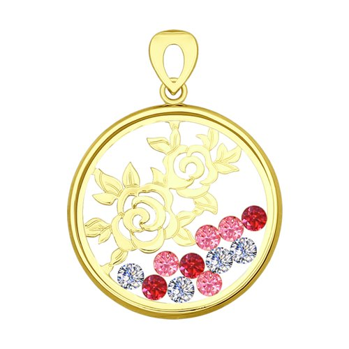 Подвеска из желтого золота с минеральным стеклом и бесцветными, красными и розовыми фианитами (035100-2) - фото