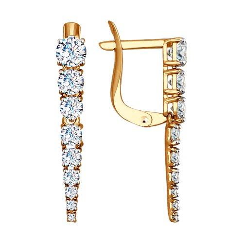 Серьги из золота с фианитами (027539-4) - фото