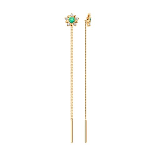 Серьги-цепочки из золота с зелеными фианитами