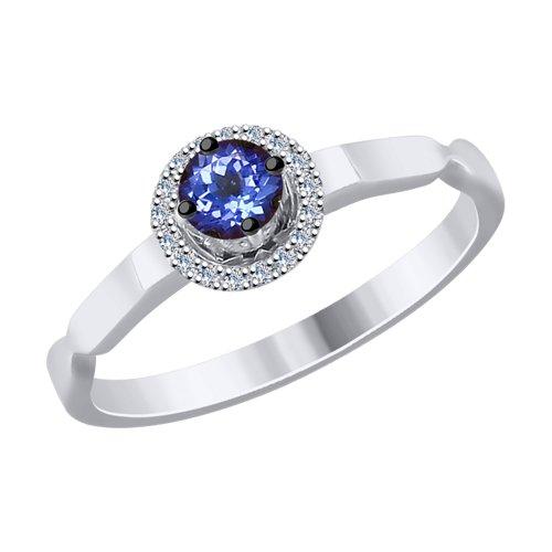 Кольцо из белого золота с бриллиантами и танзанитом (6014084) - фото