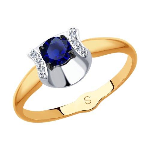 Кольцо из золота с бриллиантами и сапфиром (2011124) - фото