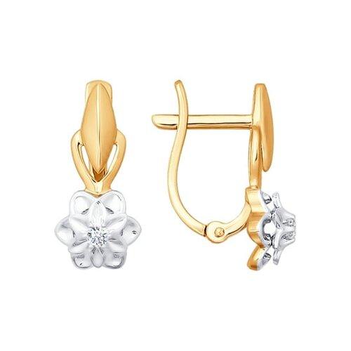Серьги из комбинированного золота с бриллиантами (1020885) - фото