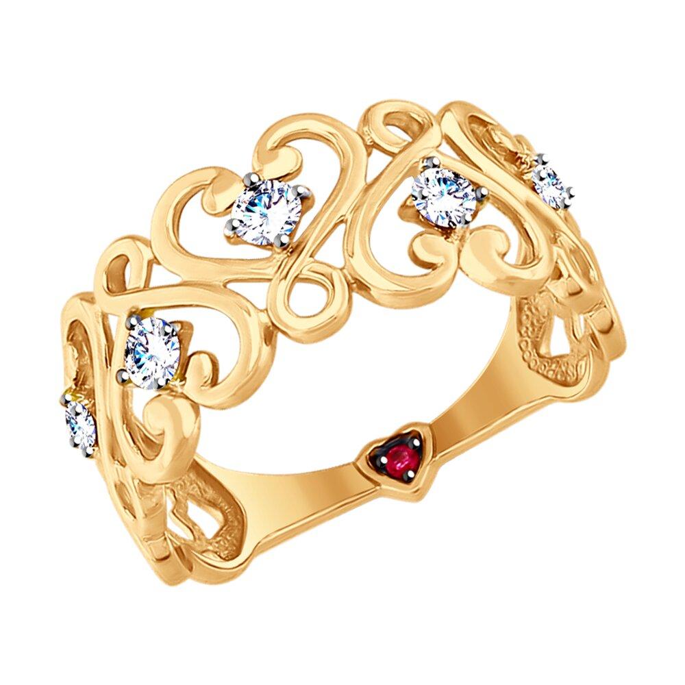 Кольцо SOKOLOV из золота с бесцветными и красным фианитами фото