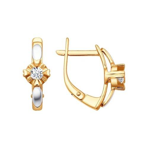 Серьги из золота с бриллиантами (1020476) - фото