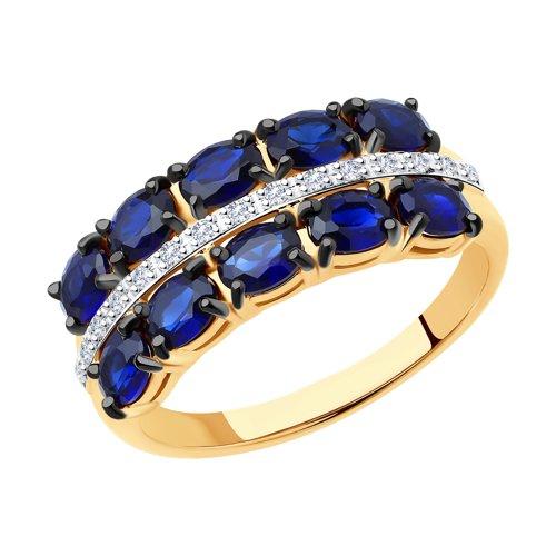 Кольцо из золота с бриллиантами и синими корундами (6012132) - фото
