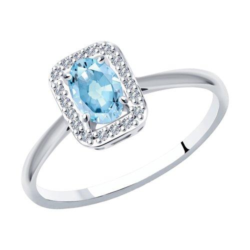 Кольцо из белого золота с бриллиантами и аквамарином
