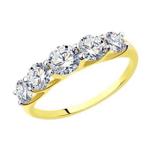Кольцо из желтого золота с фианитами (017146-2) - фото