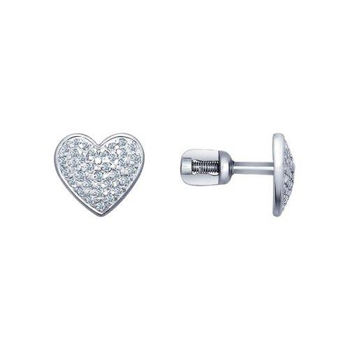 Фото - Серьги-пусеты SOKOLOV из серебра с фианитами ura jewelry серые серьги пусеты из серебра котики ura jewelry