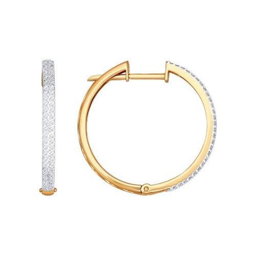 Серьги-кольца из золота с бриллиантовой дорожкой