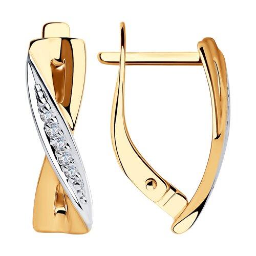 Серьги из золота с фианитами (028314) - фото
