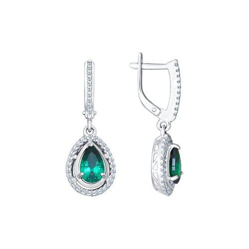 Серебряные серьги с зелёным фианитом (94021567) - фото