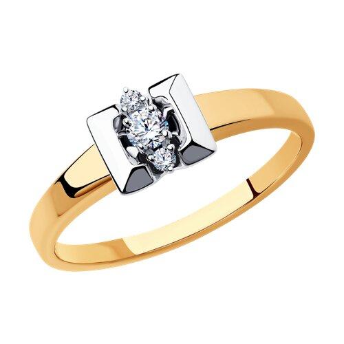 Кольцо из комбинированного золота с бриллиантами (1011459) - фото