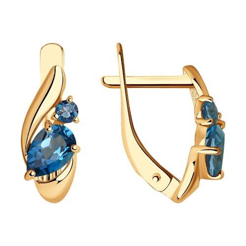 Серьги из золота с синими топазами (725411) - фото