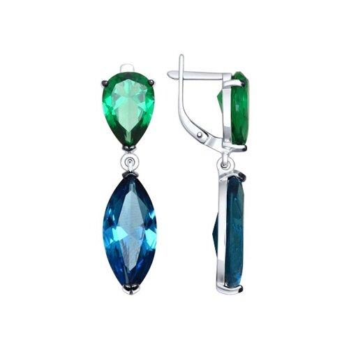 Серьги из серебра с зелеными и синими ситаллами